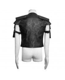Men Black Leather Armour Vampire Vest With Straps Armour