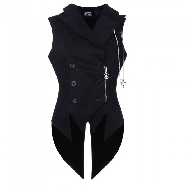 Men Gothic Vest Vampire Long Tailcoat Cotton Vest