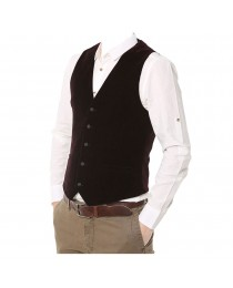 Men Elegant Wine Red Vest Gothic Slim Fit Sleeveless Jacket Vest