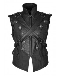 Mens Dieselpunk Military Waistcoat Army Vest Gothic Steampunk Black Leather     2020