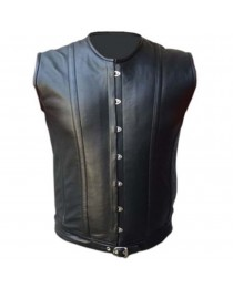 Mens Sheep Skin Real Leather Vest Steel Boned Victorian Style Corset Gothic Steampunk Vest
