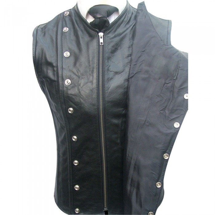Men's Real Leather Steel Boned STEAMPUNK Waistcoat Military Vest Corset GOTH Victorian