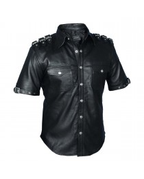 Mens Gothic pUNK Rock Real Leather Shirt Fetish Club Shirt