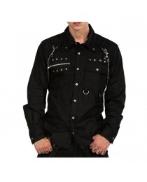 Men Gothic Punk Shirt Metal Studs Chain Cotton Men Shirt