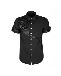 Steampunk Shady Gothic Shirt Black Mens Sleeved Leather Straps Shirt