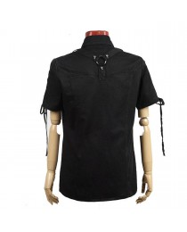 Mens Gothic Steampunk Rock Industrial Military Top Shirt
