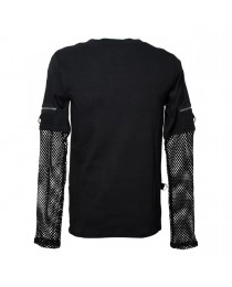 Gothic Men Shirt Top With Mesh Sleeves Punk Top
