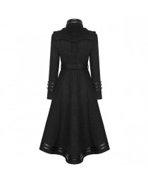 Women Gothic Punk Handsome Black Stand Collar Bodycon Jacket Overcoats     2020
