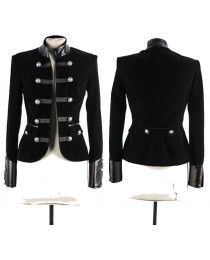 Women Gothic Black Velvet Coat Accents Double-Breasted Women Military Velvet Jacket Coat