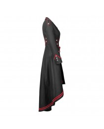 Black Red Long Gothic Jacket for Women Steampunk Military Women Long Jacket