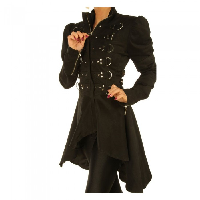 Women Gothic Steampunk Ladies Gothic floral D-ring coat jacket Top
