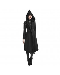 Women Punk Rave Psyon Cyber Coat Hooded Long Jacket Black Goth Dieselpunk Witch