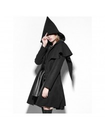 Women's  Gothic Lolita Zipper Hooded Witch Cloak Coats Black